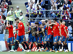 July 1, 2018 - Moscow, Russia - Round of 16 Russia v Spain - FIFA World Cup Russia 2018.Spain celebrates the goal pf 0-1 scored by Sergio Ramos at Luzhniki Stadium in Moscow, Russia on July 1, 2018. (Credit Image: © Matteo Ciambelli/NurPhoto via ZUMA Press)