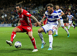 Lee Tomlin of Bristol City is challenged by Ben Gladwin of Queens Park Rangers - Rogan Thomson/JMP - 18/10/2016 - FOOTBALL - Loftus Road Stadium - London, England - Queens Park Rangers v Bristol City - Sky Bet EFL Championship.