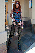 Tall Female Redhead Leather Outfit, Whip, Patten Leather Hip Boots, LA Pride 2010 West Hollywood, CA Parade
