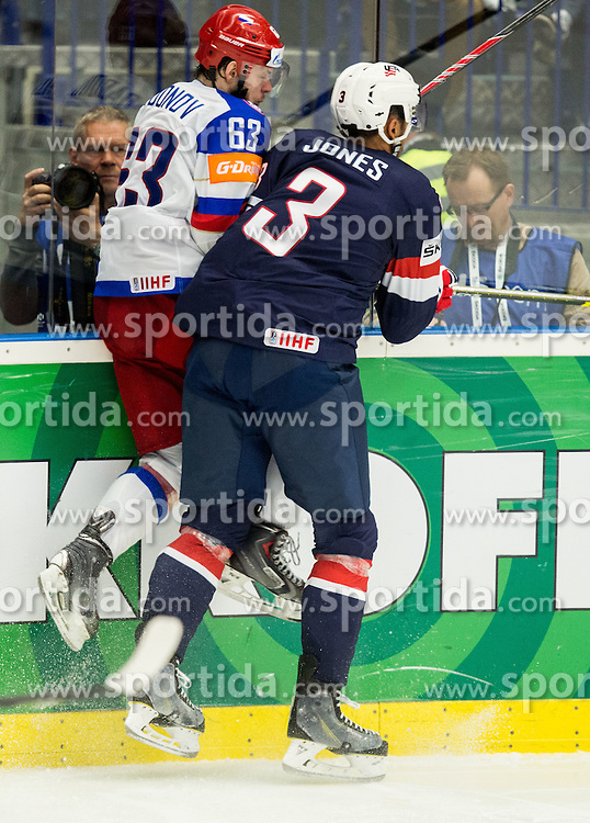 Yevgeni Dadonov of Russia vs Seth Jones of USA during Ice Hockey match between Russia and USA at Day 4 in Group B of 2015 IIHF World Championship, on May 4, 2015 in CEZ Arena, Ostrava, Czech Republic. Photo by Vid Ponikvar / Sportida