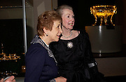 Lady Gilbert and Raine, Countess Spencer, Countess Spencer. Masterpieces of American Jewelry at the Gilbert Collection. Somerset House. 14 February 2005. ONE TIME USE ONLY - DO NOT ARCHIVE  © Copyright Photograph by Dafydd Jones 66 Stockwell Park Rd. London SW9 0DA Tel 020 7733 0108 www.dafjones.com