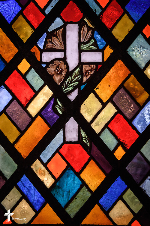 Stained glass wit the cross at the Lutheran Church of The Good Shepherd on Saturday, Feb. 13, 2016, in Mexico City, Mexico. LCMS Communications/Erik M. Lunsford