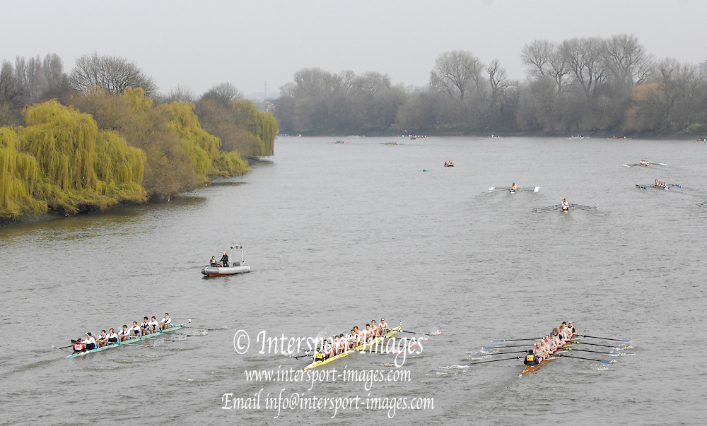 Putney/Barnes,  Great Britain, left University of Nates [FRA] centre, Leander 4, and right Hereford 3,  2008 Head of the River Race. Raced from Mortlake to Putney, over the Championship Course.  15/03/2008  [Mandatory Credit. Peter Spurrier/Intersport Images] Rowing Course: River Thames, Championship course, Putney to Mortlake 4.25 Miles,