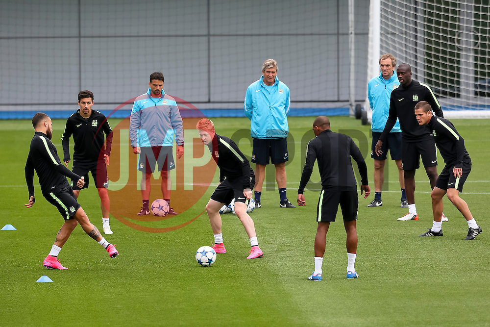 Manchester City players during the training session at the Etihad Stadium ahead of the UEFA Champions League group D match against Juventus - Mandatory byline: Matt McNulty/JMP - 07966386802 - 14/09/2015 - FOOTBALL - Etihad Stadium -Manchester,England - UEFA Champions League