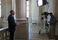 Senator Chuck Grassley (R-IA) prepares for an interview on Fox Business Network in the Russell Senate Office Building rotunda in Washington, DC on Wednesday, April 10, 2013.
