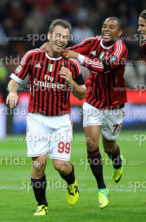 15.10.2011, Giuseppe-Meazza-Stadion, Mailand, ITA, Serie A, AC Mailand vs US Palermo, im Bild ESULTANZA DOPLO IL GOL DIANTONIO CASSANO (Milan) GOAL CELEBRATION. // during Serie A football match between AC Mailand and US Palermo at Giuseppe Meazza Stadium, Milan, Italy on 15/10/2011. EXPA Pictures © 2011, PhotoCredit: EXPA/ InsideFoto/ Alessandro Sabattini +++++ ATTENTION - FOR AUSTRIA/(AUT), SLOVENIA/(SLO), SERBIA/(SRB), CROATIA/(CRO), SWISS/(SUI) and SWEDEN/(SWE) CLIENT ONLY +++++