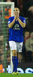 LIVERPOOL, ENGLAND - Tuesday, March 13, 2012: Everton's Jack Rodwell looks dejected after missing a chance against Liverpool during the Premiership match at Anfield. (Pic by David Rawcliffe/Propaganda)