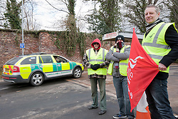 © Licensed to London News Pictures. 02/04/2013, Rotherham. 2 April 2013. Ambulance workers strike outside Rotherham Ambulance Station, South Yorkshire. About 450 ambulance workers in Yorkshire are holding a 24-hour strike in a row over staffing changes. The dispute centres on plans to introduce emergency care assistants to work with Yorkshire Ambulance Service's more highly trained paramedics .Photo credit : David Mirzoeff/LNP