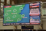 Electronic display of weather information and news headlines, Liverpool Street station, London