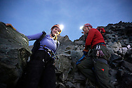 Alpinists at dawn on the Hornli ridge.<br /> <br /> &ldquo;Matterhorn 150 years Cervino&rdquo; - The year 2015 is the 150th Anniversary of the first ascent by Edward Whymper from the Swiss side (14th July) and by Jean Antoine Carrel from the Italian side on the 17th July 1865.<br /> <br /> On 17th July 2015 a friendship convention was signed by the members of Swiss, French, British and Italian climbing teams. A ceremony was held at the summit in honour of the mountain.