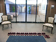 row of slippers at the entrance to a building Tokyo Japan