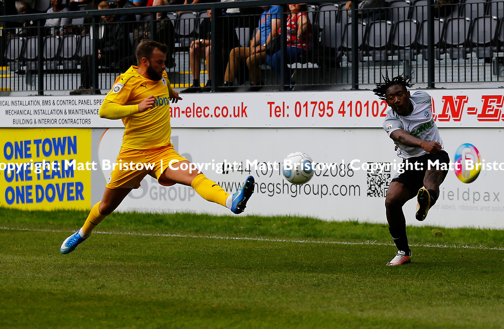 SEPTEMBER 1y6:  Dover Athletic against Chester FC in Conference Premier at Crabble Stadium in Dover, England. Doveer ran out emphatic winners 4 goal to nothing. Dover's forward Kadell Daniel crosses the ball past Chester's Andy Hails.  (Photo by Matt Bristow/mattbristow.net)