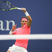 2017 U.S. Open Tennis Tournament - DAY TWO. Rafael Nadalof Spain in action against DusanLajovic of Serbia during the Men's Singles round one match at the US Open Tennis Tournament at the USTA Billie Jean King National Tennis Center on August 29, 2017 in Flushing, Queens, New York City.  (Photo by Tim Clayton/Corbis via Getty Images)