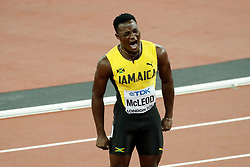 Jamaica's Omar McLeod celebrates after winning the 110 meters hurdles men during the IAAF World Athletics 2017 Championships In Olympic Stadium, Queen Elisabeth Park, London, UK, on August 7th, 2017 Photo by Henri Szwarc/ABACAPRESS.COM