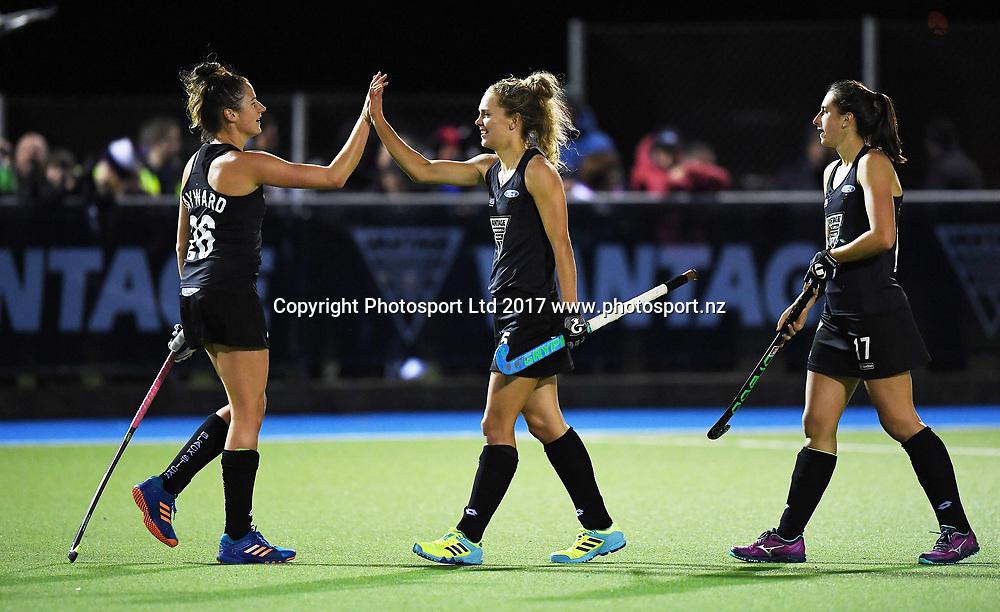 Pippa Hayward celebrates her goal with Frances Davies.<br /> Vantage Black Sticks Women vs India. International Hockey. Rosa Birch Park, Pukekohe, Auckland, New Zealand. Tuesday 16 May 2017 &copy; Copyright Photo: Andrew Coranga / www.photosport.nz
