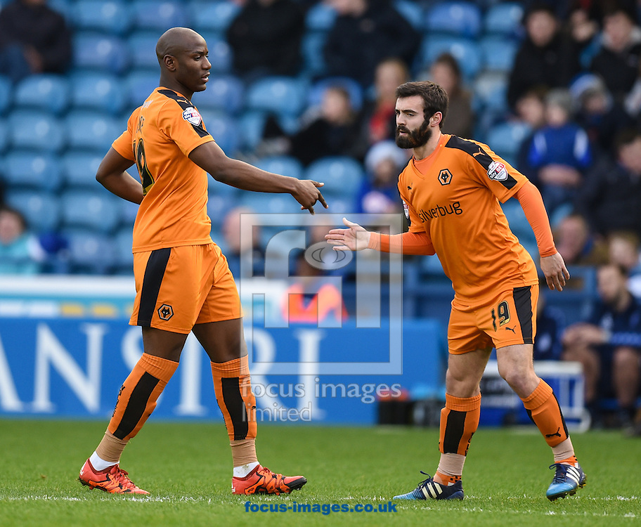 Benik Afobe (L) of Wolverhampton Wanderers celebrates scoring to make it 1-0 during the Sky Bet Championship match at Hillsborough, Sheffield<br /> Picture by Richard Land/Focus Images Ltd +44 7713 507003<br /> 20/12/2015