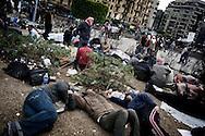Protestors anti-gouvernment sleeping in Tahrir square in Cairo on February 5, 2010.© ALESSIO ROMENZI