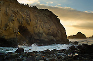 Sunset and coastal rock at Pfeiffer Beach, Big Sur, California