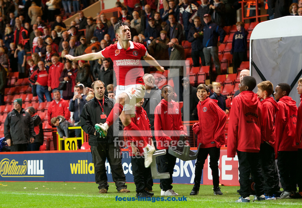 Johnnie Jackson of Charlton Athletic celebrates their 3-1 win in the Sky Bet Championship match at The Valley, London<br />