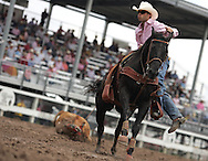 Steer Roper Marvin Dan Fisher Jr. barks commands to his horse during competition with a final time of 20.626 July 2007, Cheyenne Frontier Days