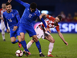Zagreb, March 21, 2019  Andrej Kramaric (R) Of Croatia and Ramil Sheydaev of Azerbaijan during the UEFA Euro 2020 group E qualifying match between Croatia and Azerbaijan at the Maksimir stadium in Zagreb, Croatia, on March 21, 2019. Croatia won 2:1. (Credit Image: © Marko Prpic/Pixsell/Xinhua via ZUMA Wire)