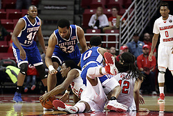 22 December 2015: MiKyle McIntosh(11) gets his hands on a loose ball with Wayne Martin(33), Armani Chaney(0) and .rm12 all in the pile.  Armani Chaney(0) gets called for a foul in the recovery attempt. Illinois State Redbirds host the Tennessee State Tigers at Redbird Arena in Normal Illinois (Photo by Alan Look)