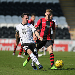 Stephen Mallan passes forward during the St Mirren v Dumbarton Scottish Championship 08 April 2017<br /> <br /> <br /> <br /> <br /> <br /> (c) Andy Scott | SportPix.org.uk