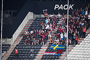 THESSALONIKI, GREKLAND - AUGUSTI 17: Fans of Oestersunds FK under UEFA Europa League Qualifying Play-Offs round first leg match mellan PAOK Saloniki och &Ouml;stersunds FK p&aring; Toumba Stadium, August 17, 2017 i Thessaloniki, Grekland. Foto: Nils Petter Nilsson/Ombrello<br /> ***BETALBILD***