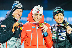 28.02.2019, Seefeld, AUT, FIS Weltmeisterschaften Ski Nordisch, Seefeld 2019, Nordische Kombination, Siegerehrung, im Bild v.l. Silbermedaillengewinner Bernhard Gruber (AUT), Weltmeister und Goldmedaillengewinner Jarl Magnus Riiber (NOR), Bronzemedaillengewinner Akito Watabe (JPN) // f.l. Silver medalist Bernhard Gruber of Austria World champion and Gold medalist Jarl Magnus Riiber of Norway Bronce medalist Akito Watabe of Japan during the winner Ceremony for the Ski Jumping competition for Nordic Combined of FIS Nordic Ski World Championships 2019. Seefeld, Austria on 2019/02/28. EXPA Pictures © 2019, PhotoCredit: EXPA/ Stefan Adelsberger