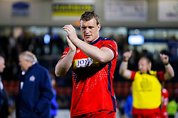 Bristol Rugby Prop Jack O'Connell celebrates after Bristol Rugby win 13-28 to take a 15 point lead into the second leg of the Final - Mandatory byline: Rogan Thomson/JMP - 18/05/2016 - RUGBY UNION - Castle Park - Doncaster, England - Doncaster Knights v Bristol Rugby - Greene King IPA Championship Play Off FINAL 1st Leg.