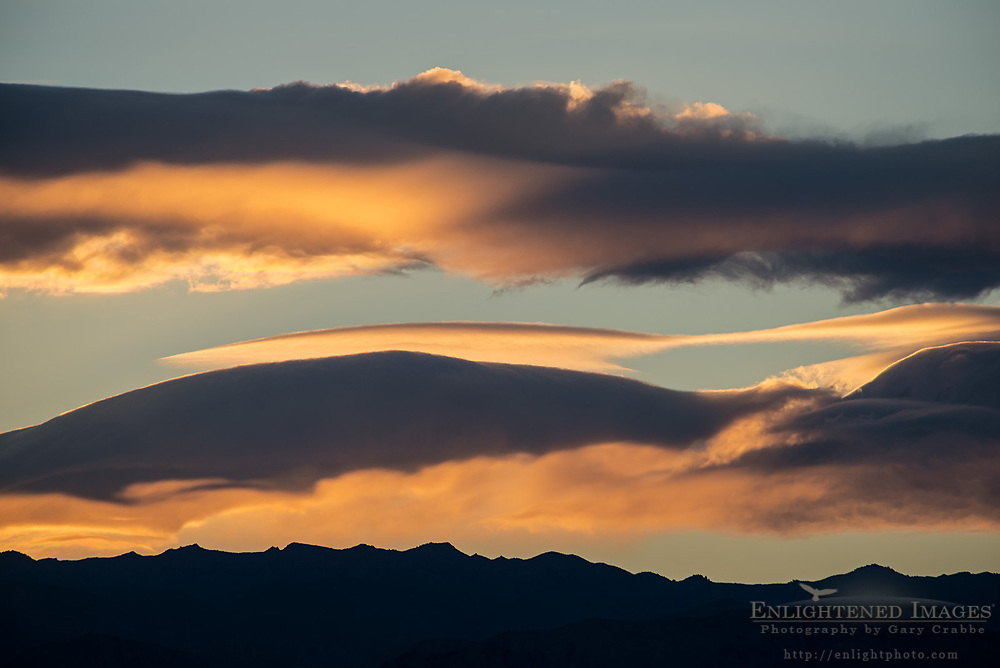 Clouds at sunset over the Panamint Mountain range in Death Valley National Park California
