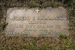 31 August 2017:   Veterans graves in Park Hill Cemetery in eastern McLean County.<br /> <br /> Joseph S Hammack  Illinois  Tec5 3479 ORD MM CO  World War II  Feb 5 1905  June 20 1963