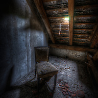 Old unused Soviet sports hospital in East Germany. One lone chair all forgotten