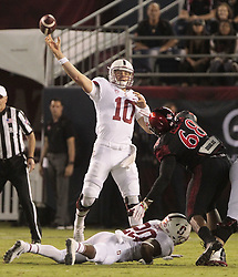 September 16, 2017 - San Diego, CA, USA - Stanford quarterback Keller Chryst (10) throws a pass during the first quarter against San Diego State at Jack Murphy Stadium in San Diego on Saturday, Sept. 16, 2017. (Credit Image: © Hayne Palmour Iv/TNS via ZUMA Wire)