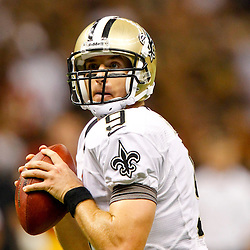 September 9, 2012; New Orleans, LA, USA; New Orleans Saints quarterback Drew Brees (9) against the Washington Redskins during the second half of a game at the Mercedes-Benz Superdome. The Redskins defeated the Saints 40-32. Mandatory Credit: Derick E. Hingle-US PRESSWIRE