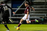 Joel Byrom of Northampton Town (right)  shoots at goal during the Sky Bet League 2 match at Sixfields Stadium, Northampton<br /> Picture by Andy Kearns/Focus Images Ltd 0781 864 4264<br /> 14/11/2015