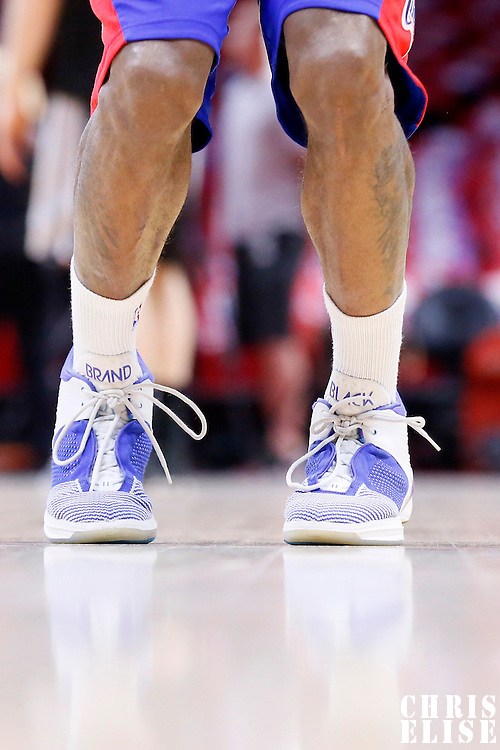 19 April 2014: Close view of Los Angeles Clippers guard Jamal Crawford (11) Brand Black shoes as he warms up prior to the Los Angeles Clippers 107-92 victory over the San Antonio Spurs, during Game One of the Western Conference Quarterfinals of the NBA Playoffs, at the Staples Center, Los Angeles, California, USA.