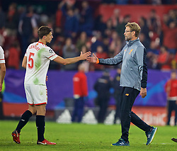 SEVILLE, SPAIN - Tuesday, November 21, 2017: Liverpool's manager Jürgen Klopp after the 3-3 draw with Sevilla during the UEFA Champions League Group E match between Sevilla FC and Liverpool FC at the Estadio Ramón Sánchez Pizjuán. (Pic by David Rawcliffe/Propaganda)