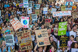 London, UK. 20 September, 2019. Thousands of students and climate campaigners take part in the second Global Climate Strike in protest against a lack of urgent action by the UK Government to combat the global climate crisis. The Global Climate Strike grew out of the Fridays for Future movement and is organised in the UK by the UK Student Climate Network.