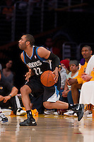 16 March 2012: Guard Wayne Ellington of the Minnesota Timberwolves pulls up to shoot against the Los Angeles Lakers during the second half of the Lakers 97-92 victory over the Timberwolves at the STAPLES Center in Los Angeles, CA.