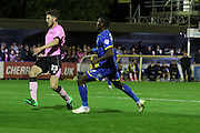Ade Azeez of AFC Wimbledon strides forwards and scores during the Sky Bet League 2 match between AFC Wimbledon and Northampton Town at the Cherry Red Records Stadium, Kingston, England on 29 September 2015. Photo by Stuart Butcher.
