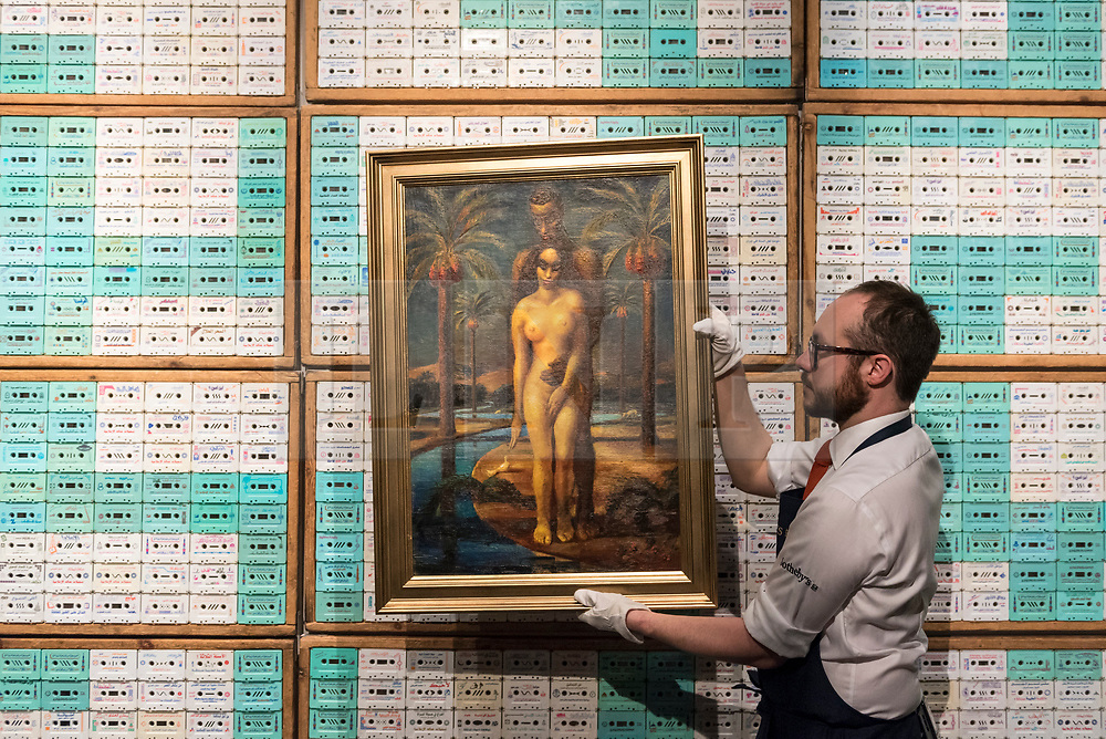 "© Licensed to London News Pictures. 20/04/2018. LONDON, UK. A technician presents ""Adam and Eve"", by Mahmoud Said (Est. GBP300-500k) against a backdrop of ""Food for Thought, Assabeel (From the Food for Thought 9000 series)"" by Maha Mullah (Est. GBP28-35k) at a preview of works in Sotheby's 20th Century Middle East, Orientalist and Islamic upcoming art sales in New Bond Street.  The works will be sold at auction in the last week of April.    Photo credit: Stephen Chung/LNP"