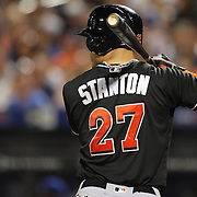NEW YORK, NEW YORK - July 05: Giancarlo Stanton #27 of the Miami Marlins batting during the Miami Marlins Vs New York Mets regular season MLB game at Citi Field on July 05, 2016 in New York City. (Photo by Tim Clayton/Corbis via Getty Images)