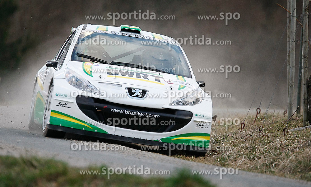 23.03.2012, Poessnitz, Leutschach, AUT, Rallyemeisterschaft, Rebenland-Rallye, im Bild Daniel Rolim Oliveira (BRA) mit Co-Pilot Carlos Magalhaes (POR) vom Stohl Racing Team auf Peugeot 207 S2000 // during the 'Rebenland Rallye 2012', Poessnitz, Leutschach, Austria, 2012-03-23, EXPA Pictures © 2012, PhotoCredit: EXPA/ Erwin Scheriau