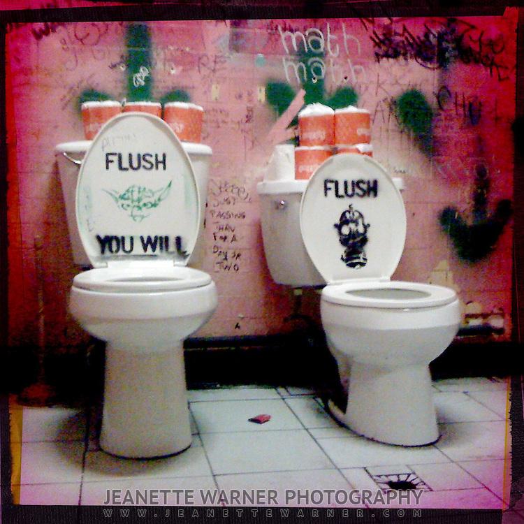 Ladies bathroom at Hole in the Wall bar, Austin, Texas
