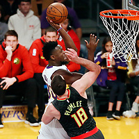 07 January 2018: Los Angeles Lakers forward Julius Randle (30) goes for the layup against Atlanta Hawks center Miles Plumlee (18) during the LA Lakers 132-113 victory over the Atlanta Hawks, at the Staples Center, Los Angeles, California, USA.