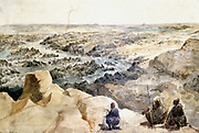 The artist arriving at the Second Cataract and wrigint his name on a rock, 14 May 1838. Watercolour by Hector Horeau (1801-1872) French architect. River Nile Egypt