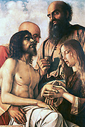Pieta', oil on panel. Giovanni Bellini (1426-1516) Italian Renaissance painter. Mouring over the body of Christ before its entombment. Death Grief
