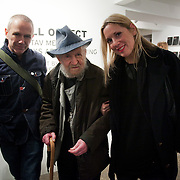Bruce Gilchrist, Gustav Metzger and Jo Joelson. Opening of the show 'Null project: Gustav Metzger thinks about nothing' at WORK gallery. Null project is a sculptural work by London Fieldworks  ( Bruce Gilchrist and Jo Joelson)