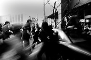 Demontrators attempt to confront the vehicle as an arguement with frustrated driver over traffic turned ugly, San Francisco, 2003